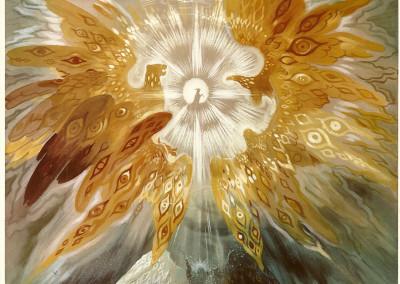 Tavola II: Dio padre in trono, sette lampade, quattro Viventi alati,  ventiquattro Seniori