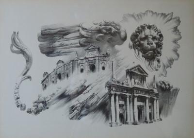 """Le porte, litografia della serie """"Bergomum"""""""