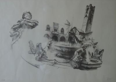 """Piazza Vecchia, litografia della serie """"Bergomum"""""""
