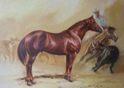 Quarter horse, 1983, olio su tela 40x50 cm