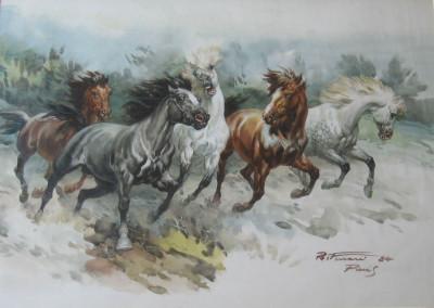 Cavalli al galoppo, 1984, acquarello su carta 55x40 cm