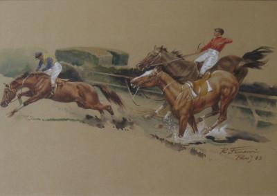 Concorso ippico, 1983, acquarello su carta 55x40 cm