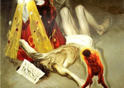 La Crocefissione e i Vizi Capitali, 1971, olio su tavola, 63x76 cm