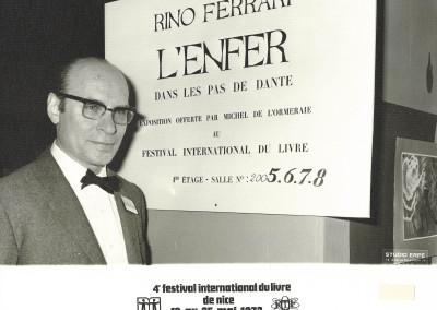 Rino Ferrari alla mostra personale allestita nel 1972 a Nizza, in occasione del 4° Festival  internazionale del Libro