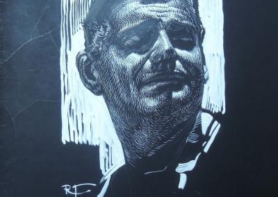 Ritratto dell'attore Clark Gable, tempera bianca su fondo nero su cartoncino 23,5x33 cm