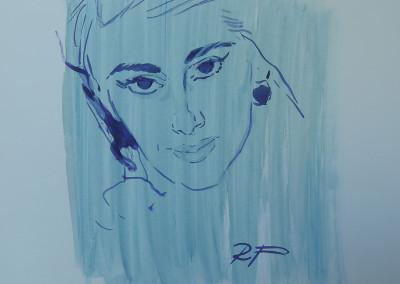 Ritratto di giovane donna, 1960, acquarello su carta 25,5x36,5 cm