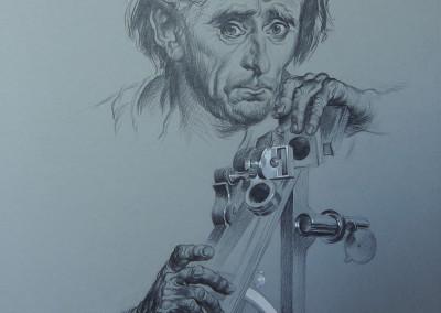 Studio, matita e acquarello su cartoncino 32,5x54 cm