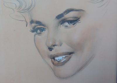 Ritratto di attrice, matita e acquarello su carta 25x32,5 cm