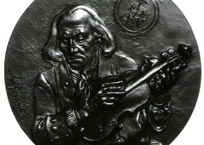 Medaglia commemorativa della  morte di Antonio Stradivari commissionata e prodotta dalla Zecca di Parigi nel 1984