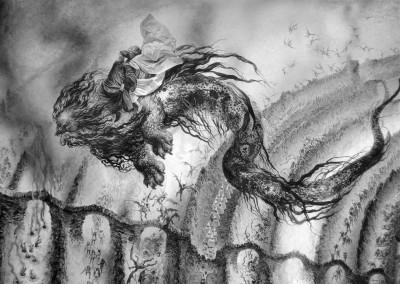 Tavola 4, dettaglio: Dante e Virgilio in groppa al mostro Gerione