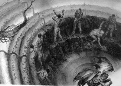 Tavola 4, dettaglio: I Giganti e Lucifero sul fondo della Caina